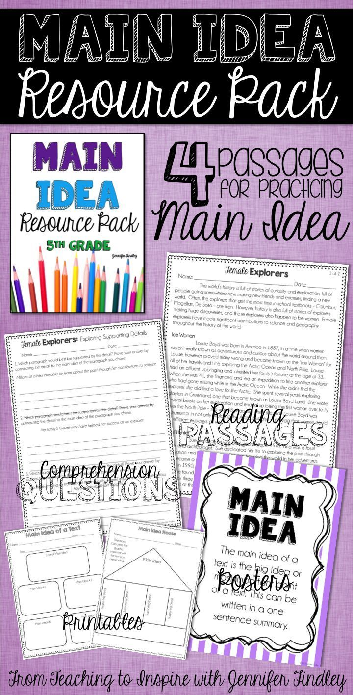 Workbooks reading comprehension worksheets 4th grade common core : 56 best Main Idea images on Pinterest | Reading, Hands and Ideas