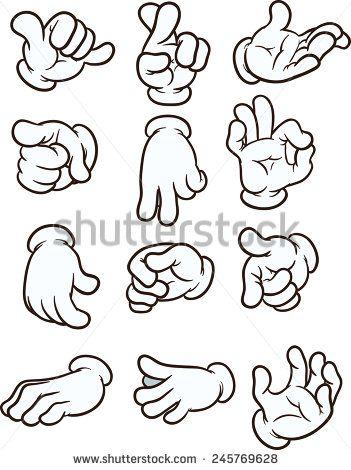 Cartoon hands making different gestures. Vector cl…