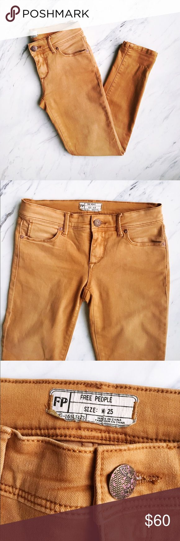 Free People Camel Skinny Jeans NWOT Perfect condition, never worn. Beauuuuutifil color, so badly wish they were my size! Perfect neutral jean for spring! Pair with a camel sweater for a monochromatic outfit or a white tee for a laid back look. Free People Jeans Skinny
