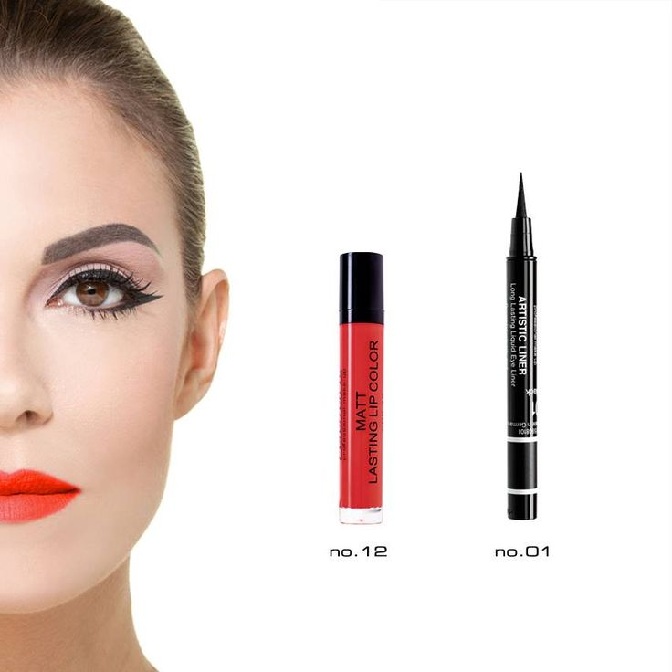 Radiant Professional Make Up -Black Artistic Liner -Matt Lasting Lip Color No 12. Sometimes 2 products are enough to make you look great! #Radiant #Professional #eyeliner #lipstick