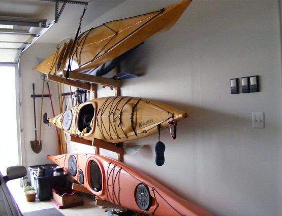 DIY Kayak storage for garage 'sports' wall