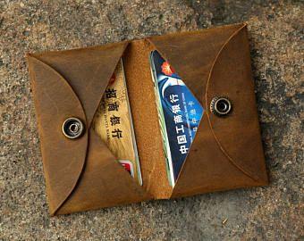 Personalizado cuero angustiados estuche de tarjeta de crédito / hombres frente de la cartera de tarjeta de cuero de bolsillo / bolso de la caja de tarjetas CH054HF de cuero