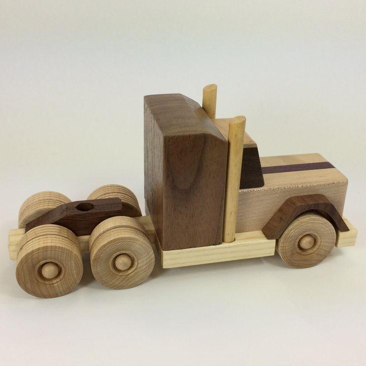 Bois tracteur remorque  jouet bois à la main style camion