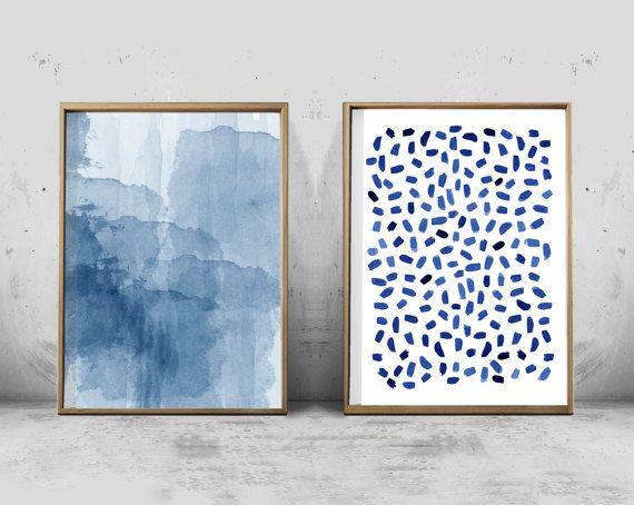 Set of 2 Abstract Watercolor Prints Indigo Blue Wall Art Navy Minimal Minimalist art Dots Dashes Brushstrokes Blue Painting Scandinavian art
