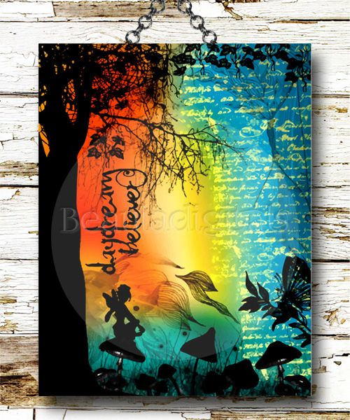 Looking colorful and a little grungy with this Daydream Believer Fairy Art Print. Well that was my aim and I am sticking to it :)