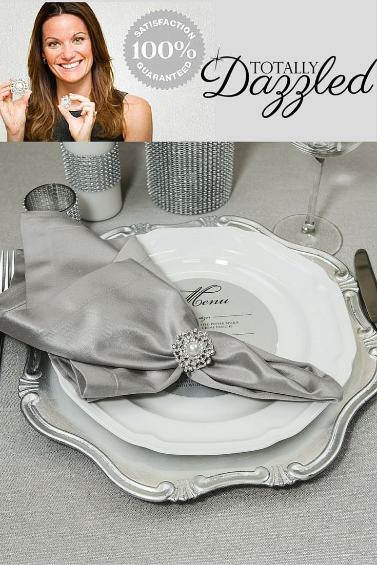 Hosting a special event? Planning a wedding? Let us help you dazzle your guests. These gorgeous pearl and rhinestone napkin rings can be found at totallydazzled.com for only $2.00 each! Also available in gold and as brooches. Make a lasting impression on