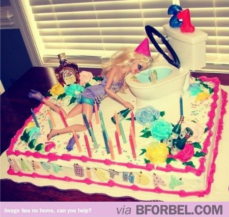 Best 21st Birthday Cake EVER. #Barbie #party - If someone made this for my 21st, I'd die laughing and love them forever. :P