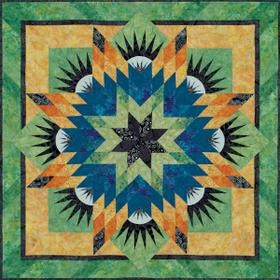 Judy and Bradley Niemeyer designed Summer Solstice for foundation paper piecing. A collection of fabrics designed by Hoffman Fabrics were used to make the quilt shown on the cover. This pattern includ