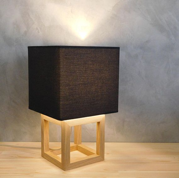 Lamp table geometric wood light living room, cube fabric black lampshade, modern wood lamp womens bedroom decor, wooden gifts anniversary