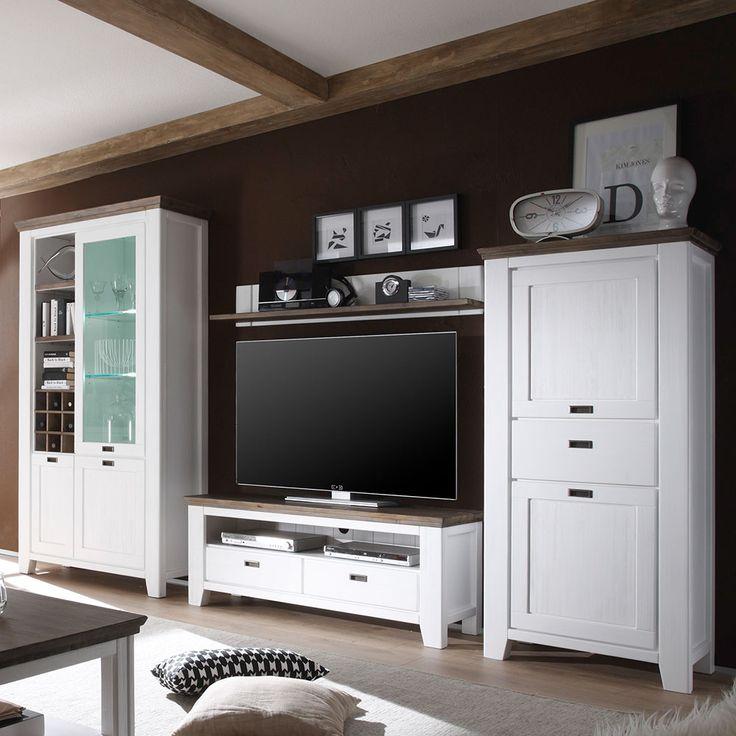 Wohnzimmer Anbauwand In Weiss Braun Landhausstil 4 Teilig Wohnzimmerschrank Schrankwandwohnwand