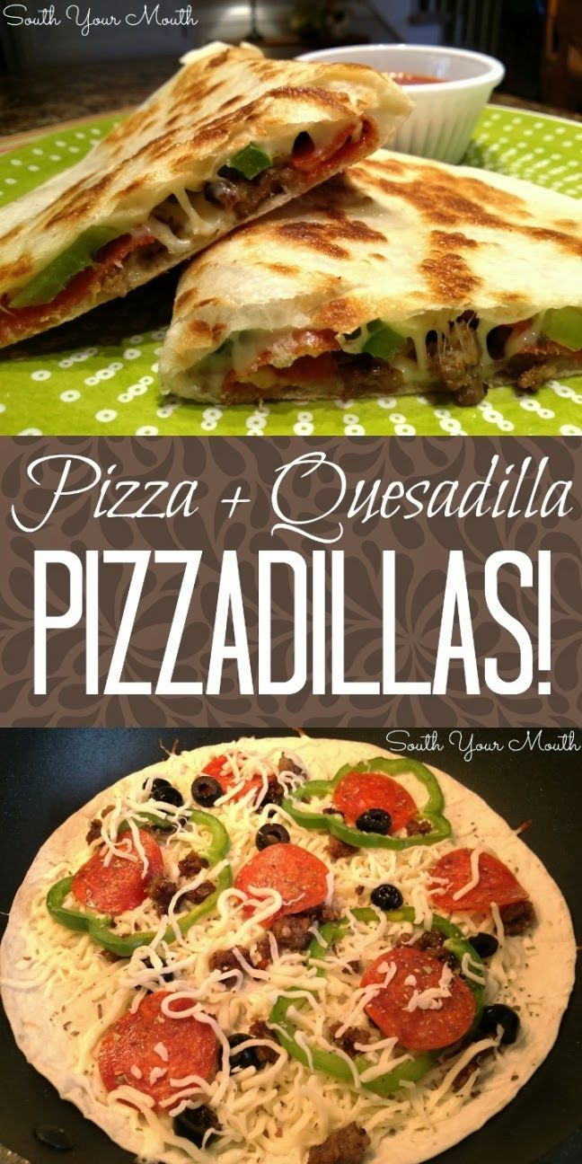 ... Recipe, Mouth, Main Dishes, South, Pizzadillas Food, Pizza Quesadillas