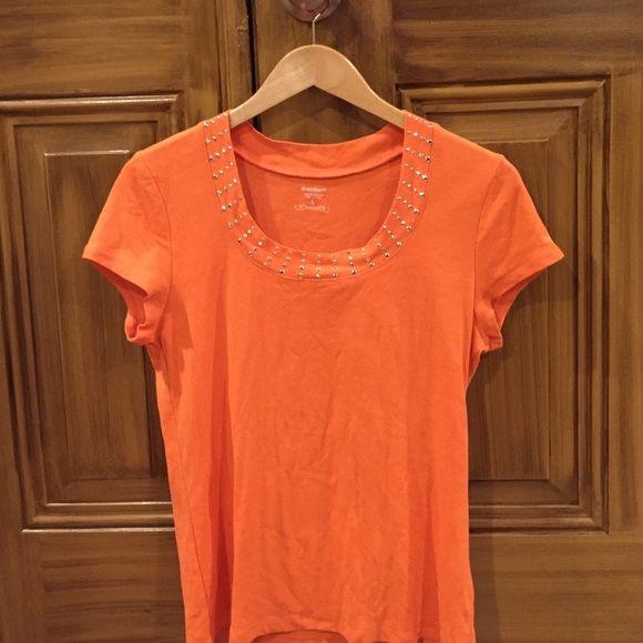 Women's short sleeve shirt Women's orange shirt sleeve shirt Dress Barn Tops Tees - Short Sleeve