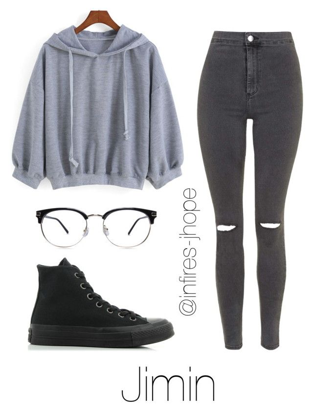 """""""Grey Outfit with Jimin"""" by infires-jhope ❤ liked on Polyvore featuring Topshop and Converse"""