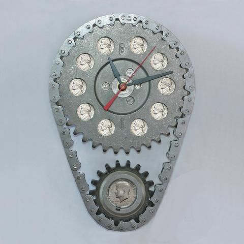 Chevy Car Parts and Coins Wall Clock