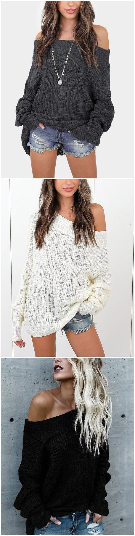 Grey Off The Shoulder Long Sleeves Loose Plunge Sweaters US$27.95