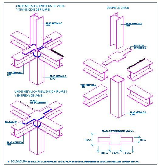 Unión metálica. Entrega de vigas y transición de pilares | detallesconstructivos.net