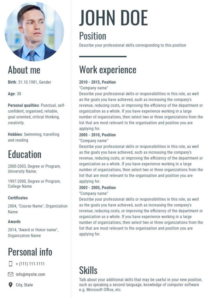 Resume, cv template, made on Wilda