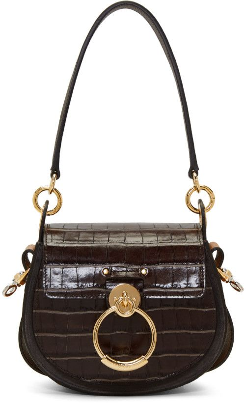 34c39f976a67 Chloé - Brown Croc Small Tess Bag