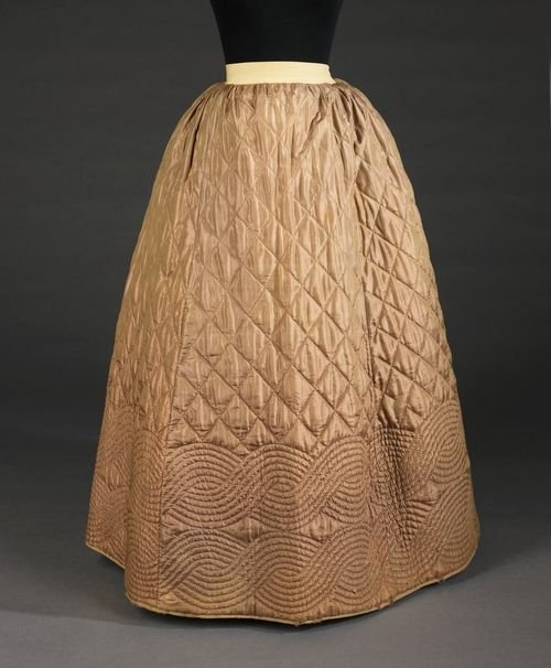 Petticoat, American ca. 1840–55 silk, cotton, wool... What I would give to just touch something that old. I missed my calling as a museum curator.~~~~~Ditto