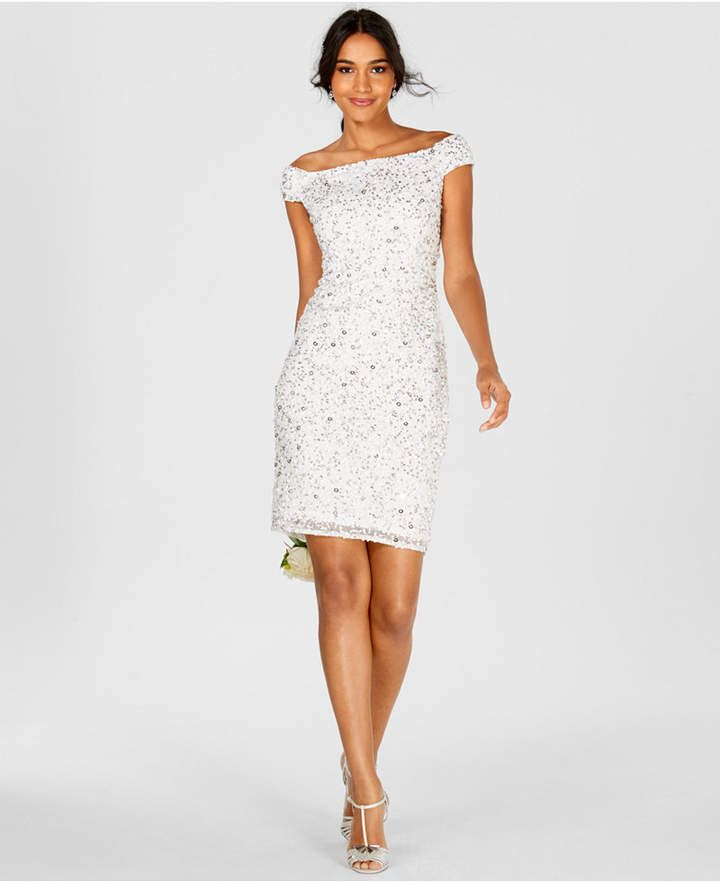 ed042f86e7090e Adrianna Papell Off-The-Shoulder Beaded Sheath Dress - White 14 in ...