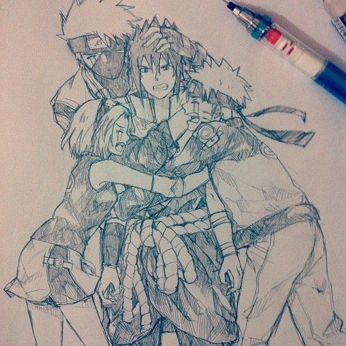 Team 7 - Kakashi, Sasuke, Sakura and Naruto. Kudos to the artist!