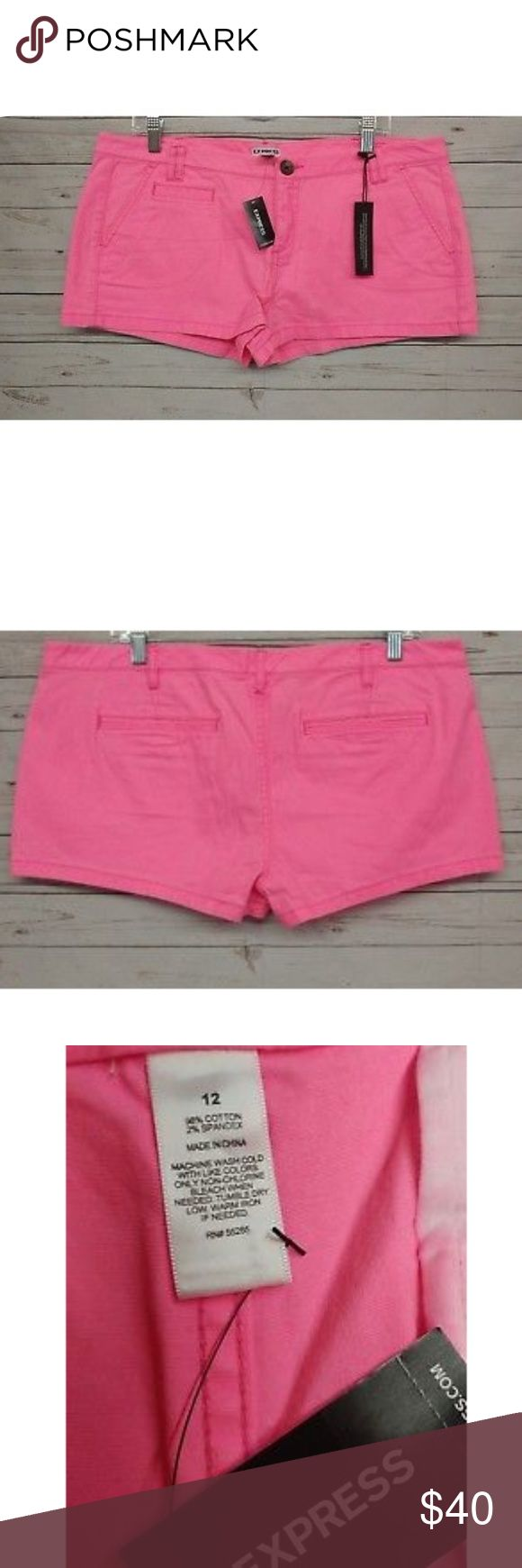 """EXPRESS Hot Pink Shorts Size 12 NEW EXPRESS Women's Hot Pink Shorts   Size 12 NEW Measurements taken flat: 19"""" waist  1.5"""" inseam 9"""" Rise 12"""" leg opening  Brand new with tags!  Fast shipping! Express Shorts"""