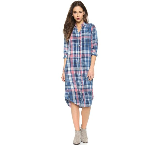 Current/Elliott Long Shirtdress (1.005 BRL) ❤ liked on Polyvore featuring dresses, mericana plaid, plaid dress, plaid shirt dress, blue plaid dress, long sleeve shirt dress and shirt-dress