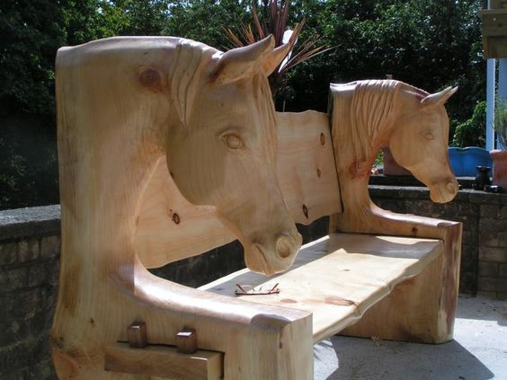 Chainsaw carved benches horse head bench project