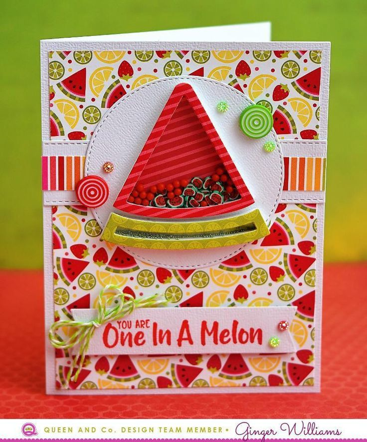 How to make an easy and adorable shaker card? Use the Fruit Basket Kit! Watermelon Card, Shaker Card, Friend Card, Thanks Card. This fresh and fruity new kit is bursting with coordinating products to make amazing cards or scrapbook pages.