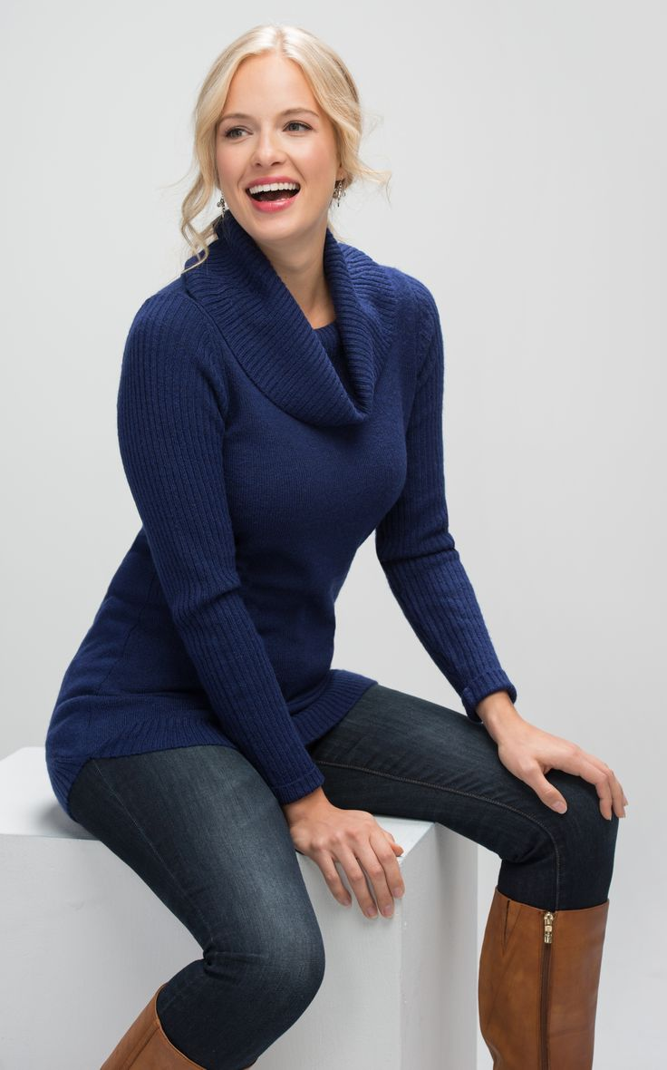 Mossy Cowl Tunic, Midnight Blue #rickis #winter #winter2016 #winterfashion #holiday #holiday2016 #holidayfashion #sweaterweather #sweaters #cozy #cozysweaters #loverickis