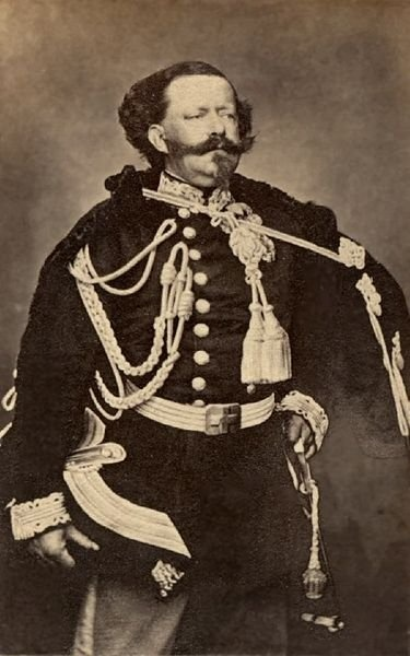 Victor Emmanuel II was the King of Piedmont, Savoy, and Sardinia from 1849 to 1861. On February 18, 1861, he assumed the title King of Italy to become the first king of a united Italy, a title he held until his death in 1878. The Italians gave him the epithet Father of the Fatherland (Italian: Padre della Patria).