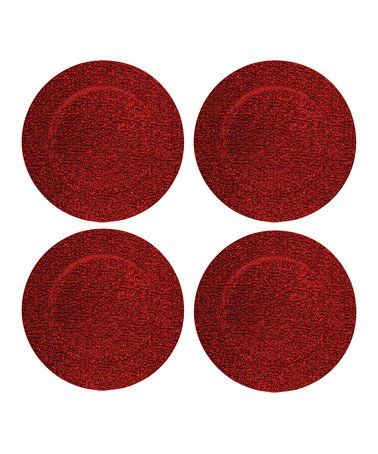Another great find on #zulily! Red Glitter Charger Plate - Set of Four #zulilyfinds
