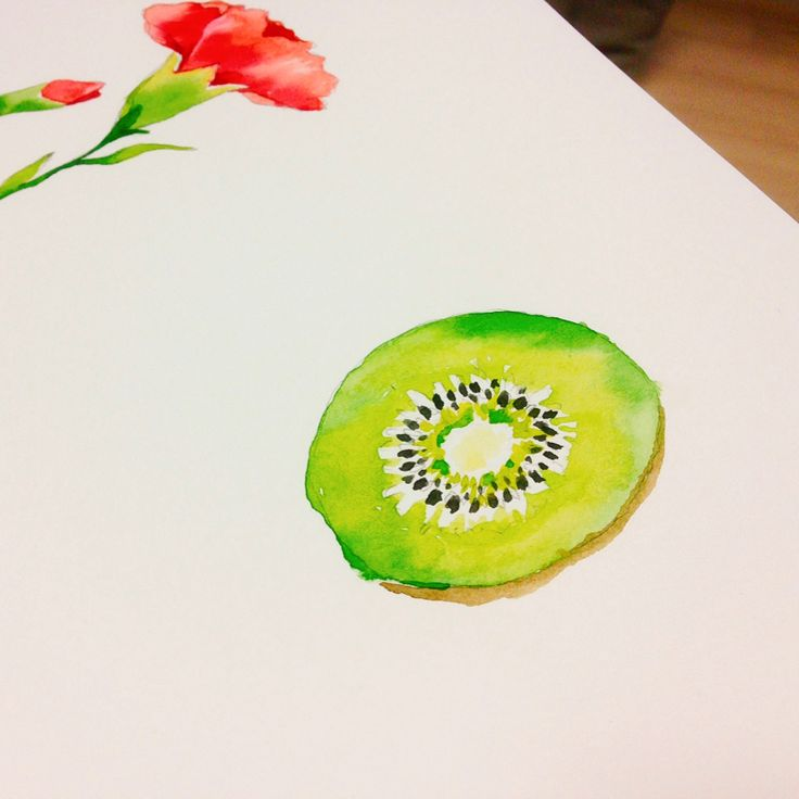 Watercolor drawing #kiwi ...  #watercolor #coloring #art #drawing #painting #designer #work #artwork #illustration #fineart