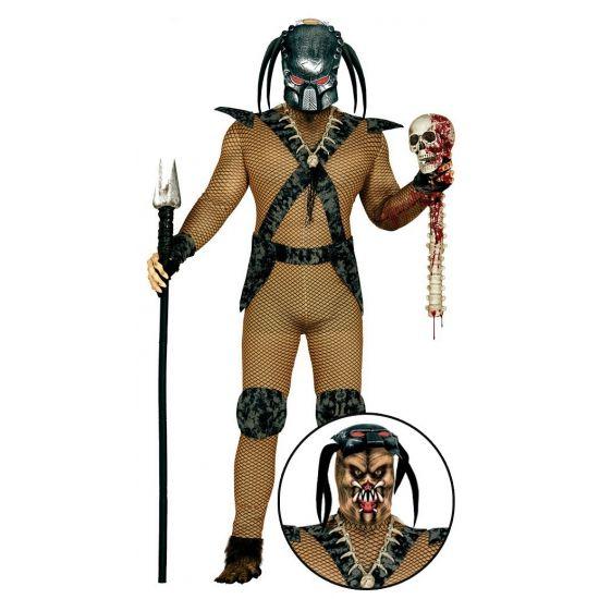 Ruimte monster kostuum voor heren. Eng monster kostuum of alien kostuum voor heren. Het kostuum bestaat uit een jumpsuit, capuchon, zwart masker, riem, kniebeschermers en polsbanden. One size model(L/XL).
