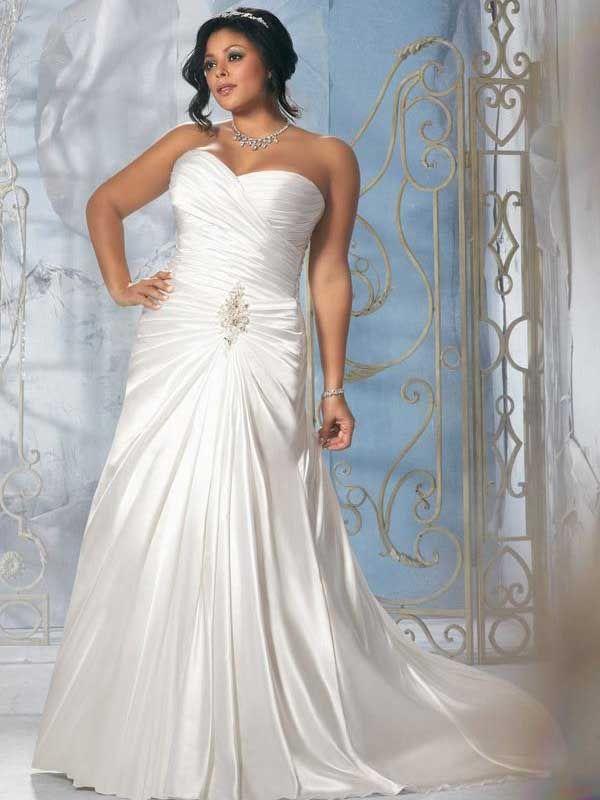 Robe de Mariée Grande Taille Fourreau Col en Cœur Traîne Courte Blanc Satin Elastique