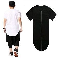 Mens Casual Extended Fit O-neck T-shirt Short Hip Hop Tops Long Tee Back Zipper