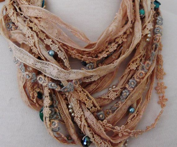 Shabby chic silk lace beaded necklace boho beaded by RawHemline