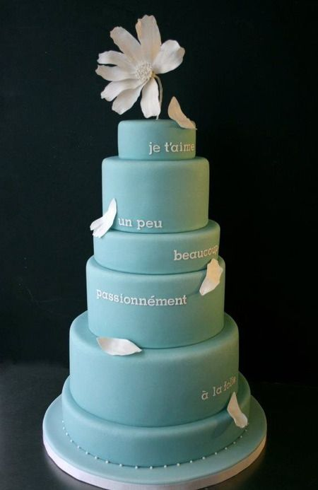 french: Cakes Shops, Tiffany Blue, French Cakes, French Wedding, Blue Cakes, Wedding Cakes, Cakes Wreck, Blue Wedding, French Words