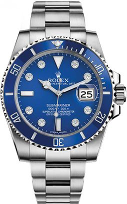 116619-BLUDD Rolex Submariner Blue Diamond Dial Mens Automatic Watch