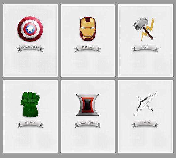 the avengers minimalist symbol posters set of 6