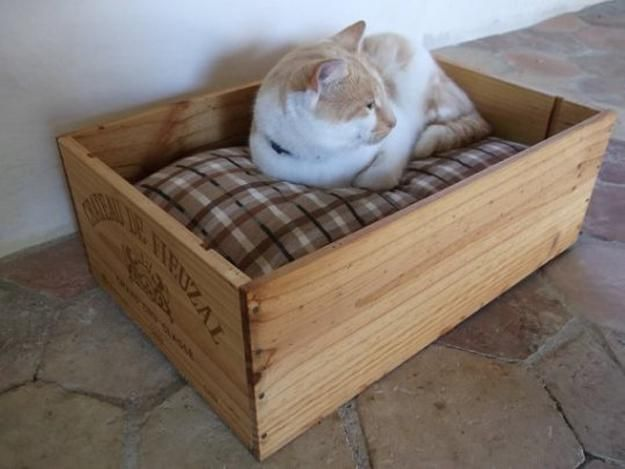 wood box cat bed with soft cushion