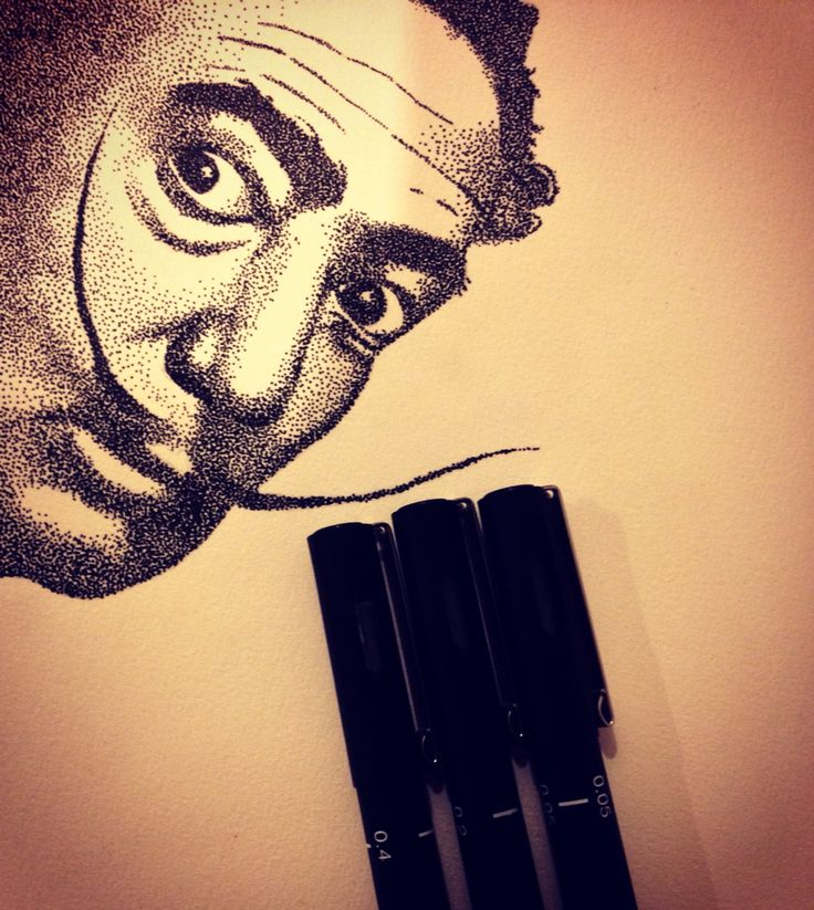 Dotwork, art, mywork, portrait, SalvadorDali, pointillism