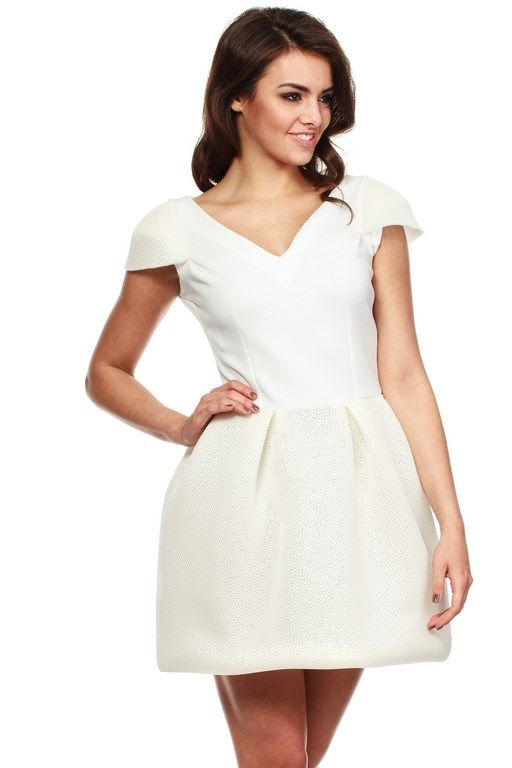 Globed mini dress with V-neck in shades of ecru