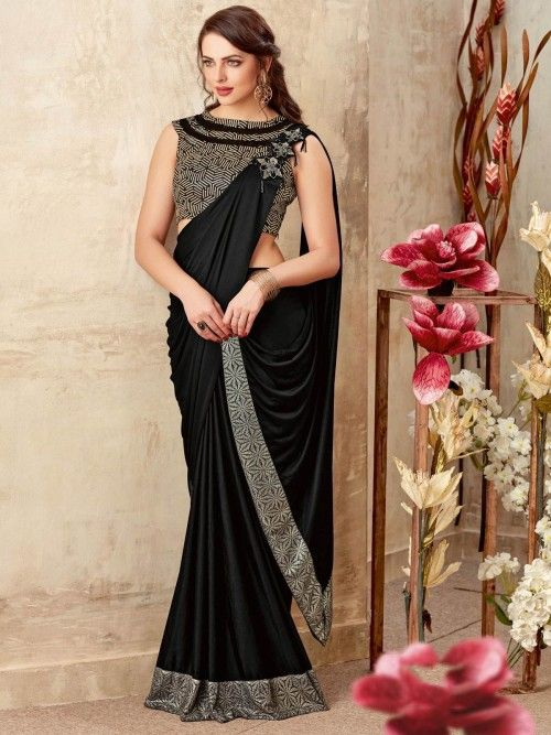 4faa0c6e6cf42a Stunning black partywear one minute saree online for women which is crafted  from lycra fabric and comes with silk blouse.