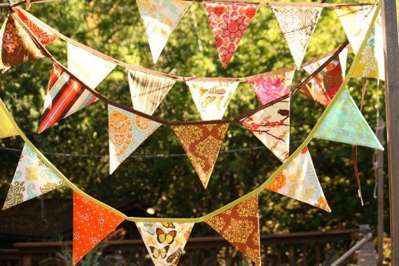 Harvest Bunting, Fabric Flag Banner, Fall Colors Surprise Decoration, Designer's Choice, 9 Large, Double Sided Flags in Festive Prints. on Etsy, $32.00