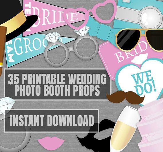 Wedding Photo Props Ideas: 35 Wedding Photo Booth Props, Gold Photo Props, Pink Blue