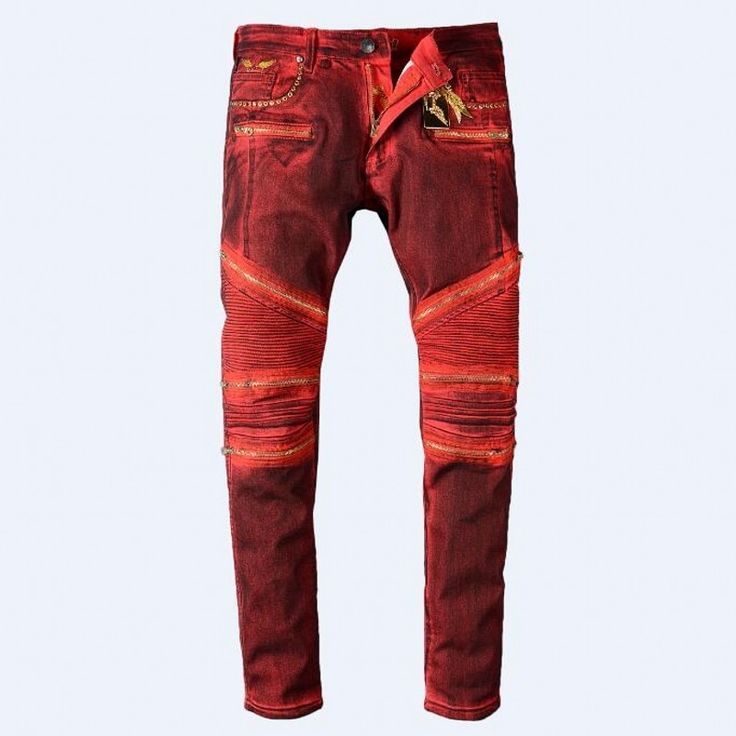 57.20$  Buy here  - Robin Jeans Man's Red Jeans Coating Spring Autumn Pants High Quality Manually Paste Crystal Golden Wings Zipper Fashion Jeans