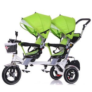 Twins Stroller Baby Double Seats Pram Child Rotatable Comfort Tandem Tricycle | eBay