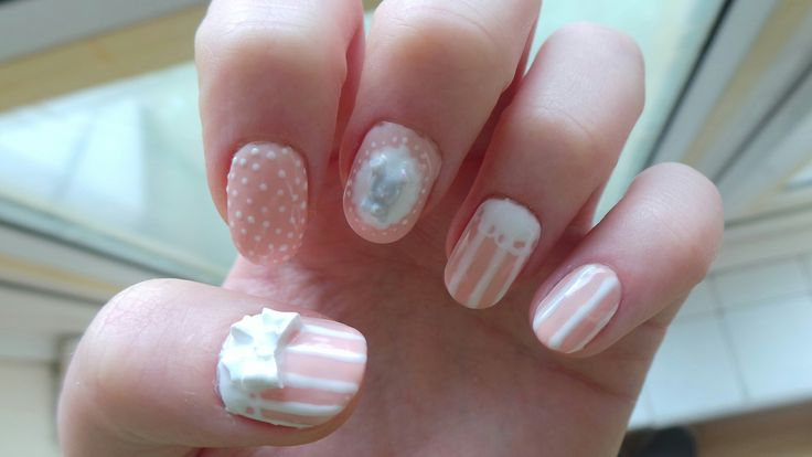 Gel nail art, bows dots lace and stripes!!