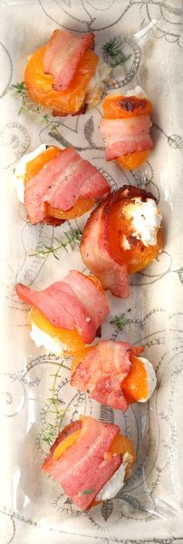Apricots stuffed with goats cheese and wrapped in bacon:  sweet and salty at its best!